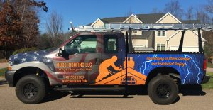 Bucci Roofing LLC truck in Scituate, RI
